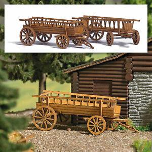Spur H0, 1 St. Bausatz für 2 Leiterwagen aus echtem Holz, Busch 1385, OVP