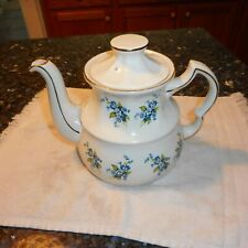 Wood & Sons Ellgreave Centenary Ironstone Teapot England Blue Floral Pattern