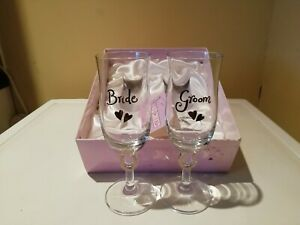 Pair Of Bride And Groom Champagne Glasses