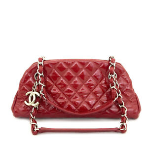 CHANEL Red Quilted Enamel Patent Leather Silver Chain Shoulder Bag /81747