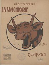"""""""LA WACHKYRIE"""" Couverture de partition entoilée d'après Benjamin RABIER 1919"""