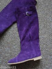 VERO CUOIO (italien) Femmes Longueur Genou Bottes, Taille 4, en daim, violet, NEUF