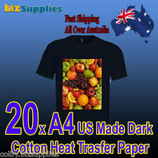 20x USA Made A4 Cotton T-Shirt Heat Transfer Paper For Dark Color Shirts Iron On