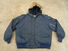 RARE VTG CANADA TRAIL PARKA SNORKEL HOODIE COYOTE L MEN 60S DOWN NAVY MILITARY