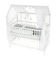 Baby Bett Haus Kinderbett 120x60 Inkl. Matratze Minky Bettset WOLKE GRAU