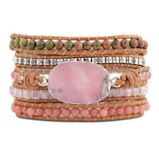 Handmade 5 Times Leather Wrap Bracelet Silver Pink Opal Beads Holiday Friendship