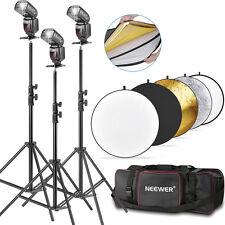 Neewer 3x NW-561 Flash for Canon & Nikon+3x LIGHT STAND+REFLECTOR+BAG
