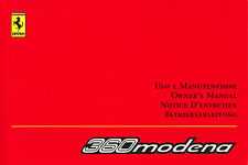 2002 FERRARI 360 MODENA OWNERS MANUAL HANDBUCH BETRIEBSANLEITUNG 1770/02