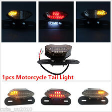 Smoke LED Motorcycle Turn Signal Brake License Plate Integrated Tail Light 12V