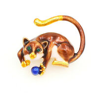 Betsey Johnson Enamel Crystal Cute Cat Kitten Charm Animal Brooch Pin Gift