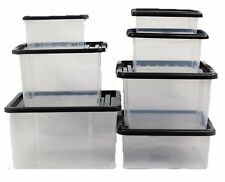 SMALL MEDIUM LARGE PLASTIC STORAGE BOXES - STACKABLE BOXES - OFFICE USE - STRONG