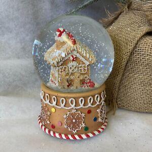Gingerbread House Man Musical Christmas Snow Globe Gisela Graham Dome Gift
