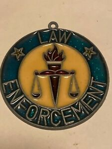 law enforcement stained glass ornament