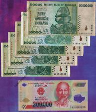 5 x 50 Million Zimbabwe Dollars AA 2008 + 1 x 200,000 Vietnam Dong Banknotes VND