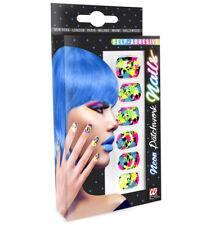Neon Patchwork False Fake Nails Set Of 12 Self Adhesive Punk Emo Rave