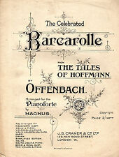 SHEET MUSIC - BARCAROLLE PIANO SOLO - THE TALES OF HOFFMANN  - OFFENBACH (n.d.)