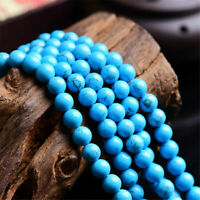 Hot Natural Blue Turquoise Round Gemstone Loose Spacer Beads Charm 4/6/8/10/12mm