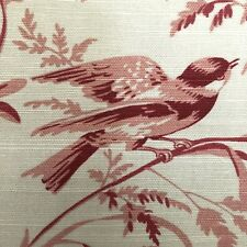 AVIARY TOILE Rogue French General Fabric BTY Birds Floral Cotton /Linen FABRICUT