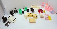 Lot of 39 Pieces Miniature Doll House Furniture From Ideal & Renwal 2 Baby Dolls