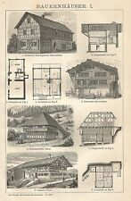 B0116 Bauernhauser - Stampa antica - 1901 Engraving