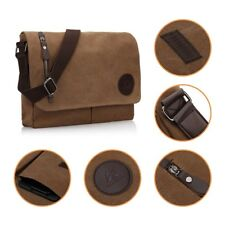 US High Capacity Canvas Bag Messenger Shoulder Retro Briefcase Satchel Bag Brown