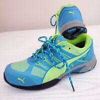 PUMA Women's Work Shoes Celerity Knit Size 6.5 Blue Green Steel Toe SD 642905