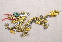 Chinese Dragon - Facing LEFT - Yellow/Gold - Iron on Applique/Embroidered Patch