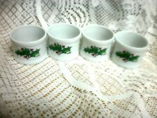 4 WHITE CHRISTMAS marked  ''HOLLY''    (PORCELAIN) Napkin Rings