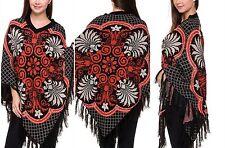 Poncho W/Bold Print Orange And Black V Neck Fringe Knit Sweater  One Size M-2X