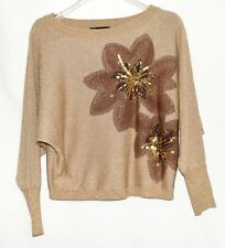 International Concepts INC Gold Metallic with Brown Flowers Womens Sweater Sz S