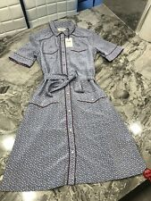 Coach Star Print Western Shirt Silk Dress Size 4 $495 Blue w/ Pockets Belted New