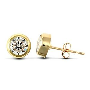 9CT YELLOW GOLD MENS SINGLE CZ EARRING 7MM Erin Rose Jewellery Co