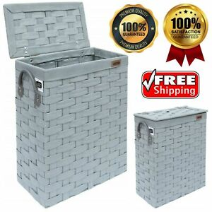 Bathroom Storage Slim Stylish Basket Bin Laundry Linen Hamper Basket w Lid Grey