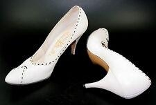 Vtg 8.5 White Black Stilettos Pin Up Bombshell Burlesque Bettie Top Stitch VLV