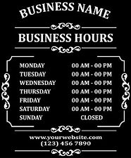 "Custom Business Store Hours Sign Vinyl Decal Sticker 11""x13"" door, window."