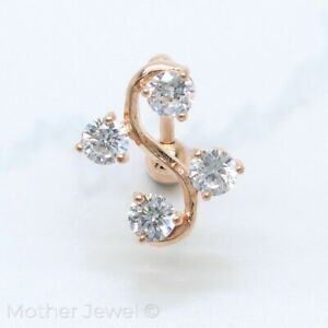 14K ROSE GOLD TRIPLE PLATED REVERSE SIMULATED DIAMOND DANGLE BELLY NAVEL RING