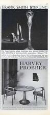 1960 FrankSmith Sterling PRINT AD & Harvey Probber furniture PRINT AD
