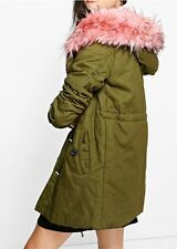 NEW BOOHOO Woman's Petite Faux Fur Trim Parka Jacket Coat Army Green Pink Fur 2