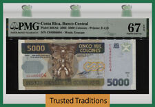 TT PK 268Ab 2005 COSTA RICA BANCO CENTRAL 5000 COLONES PMG 67 EPQ SUPERB GEM UNC