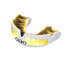 OPRO Mouth Guard Power Fit Bling White Gold Teeth Gum Shield Boxing MMA Rugby