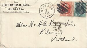 QQ5021 Chicago  July 1878 cover Scotland; 'Glasgow Packet Paid' cancel, 2 stamps