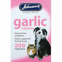 Johnsons 200 Garlic Tablets For Dogs & Cats Natural Remedy For Fleas & Worms