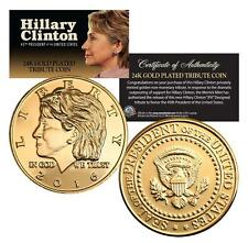 HILLARY CLINTON for President 2016 Coin 24KT Gold Plated '16 Election Campaign