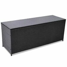 vidaXl Outdoor Storage Box Poly Rattan Black Entryway Chest Bench Organizer