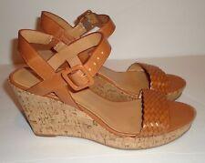 Nine West NW7EATCAKE Brown Slingback Platform /Wedge Sandals SIZE 9.5 M