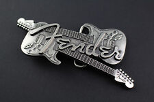 FENDER crossed guitars boucle de ceinture gun metal rock punk musique guitare