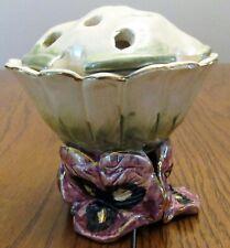 """Blue Sky Clayworks, Heather Goldminc Pansy Vase w/Flower Holder 3.5"""" + Holder"""