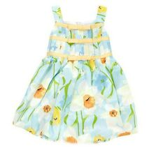 Bonnie Jean Baby Girls Dress Floral Blue Yellow Nappy Cover Sleeveless  6-9 M