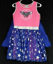 Wonder Woman Dress Teen Jr XL 14/16 Pink/Blue Sequin Sheer Skirt Silver-Stars