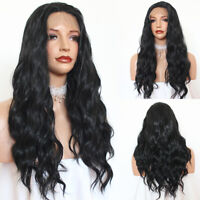 Lace Front Black Wigs Long Natural Wavy Synthetic Hair Wig for Women Loose Wavy